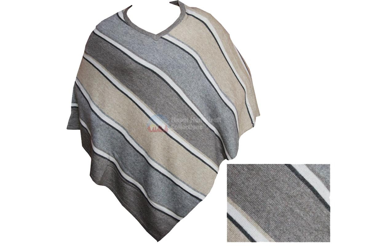 Pashmina Pancho,gray,white stripe
