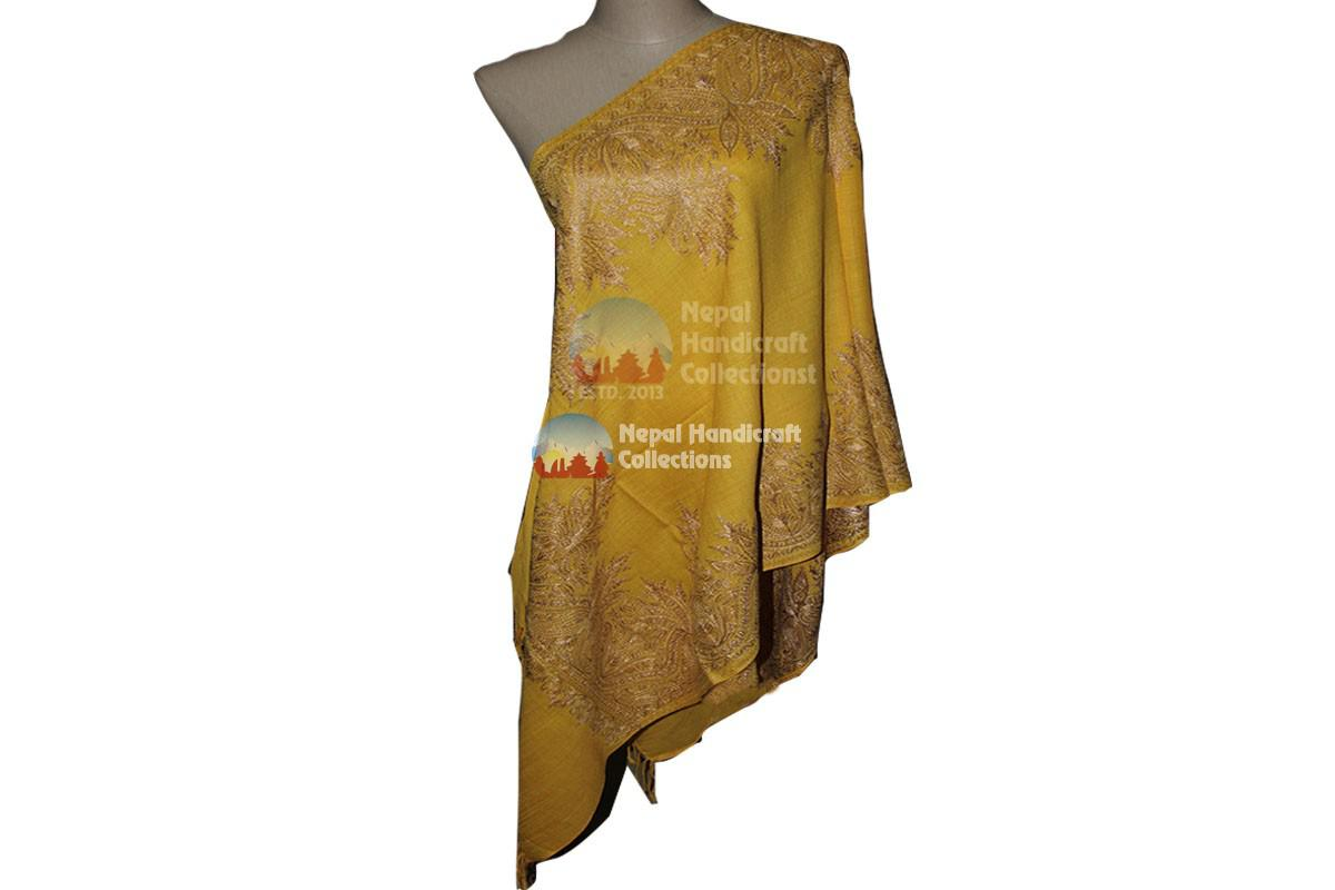 Cashmere Embroidery shawls-yellow