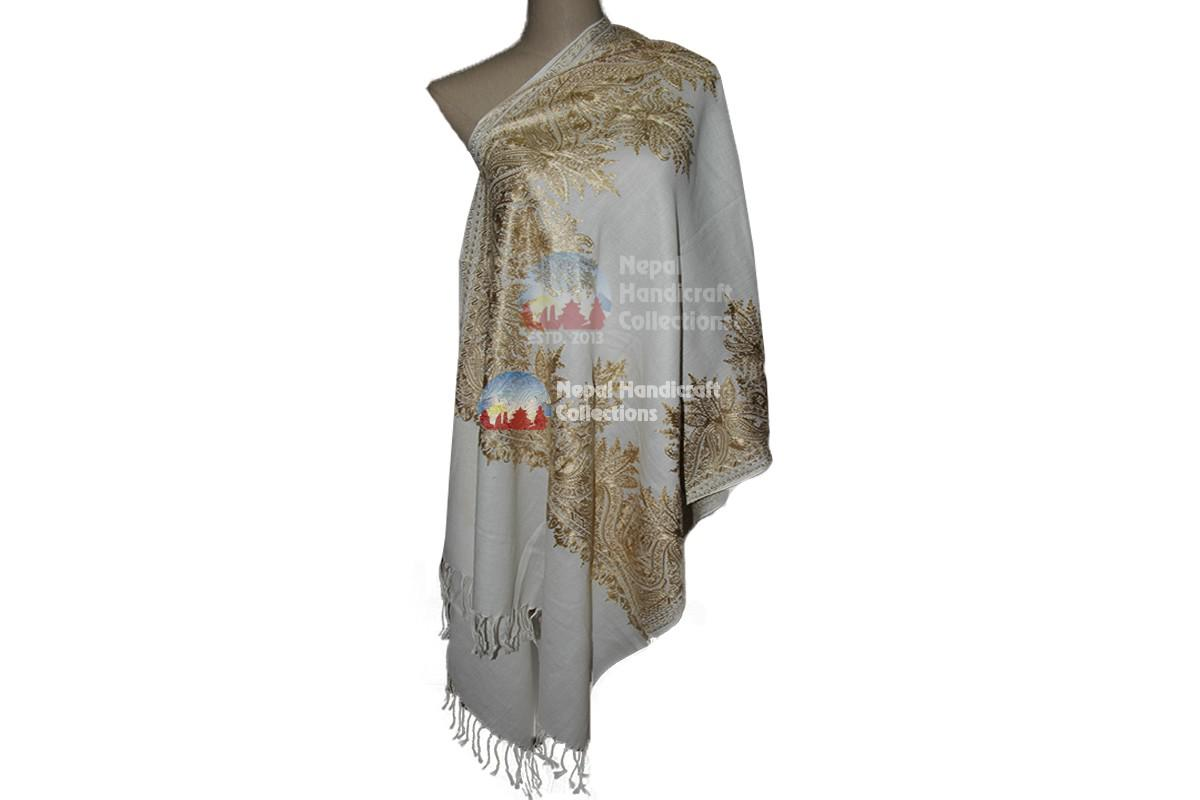 Cashmere Embroidery shawls-White with forest pattren