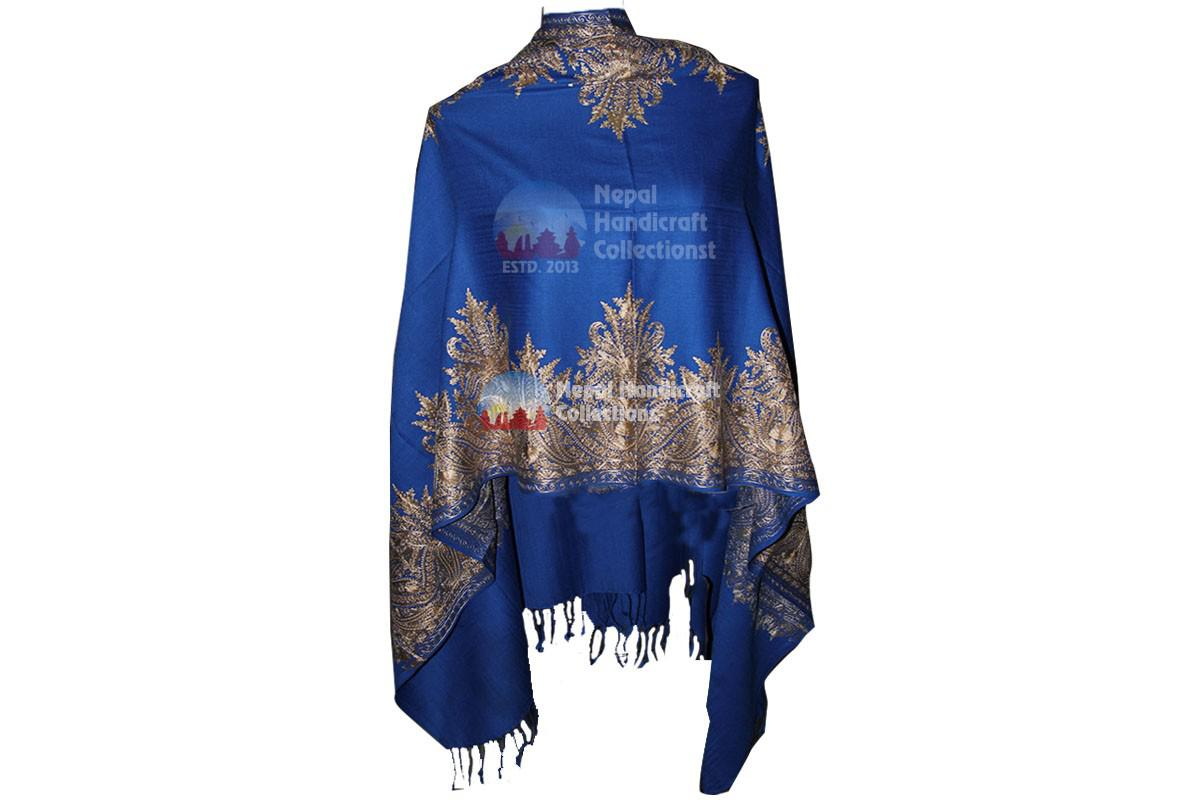 Cashmere Embroidery shawls-royal blue light