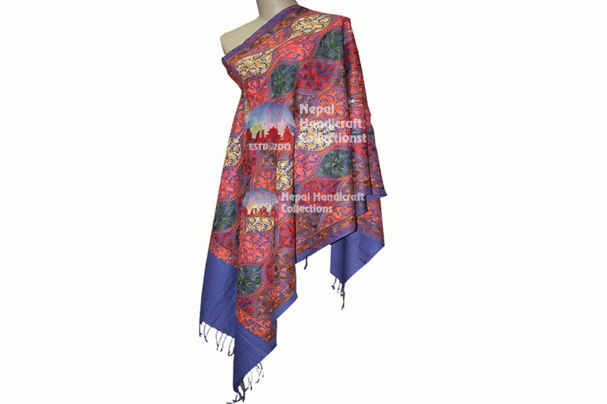Cashmere Embroidery shawls-blue with pattren