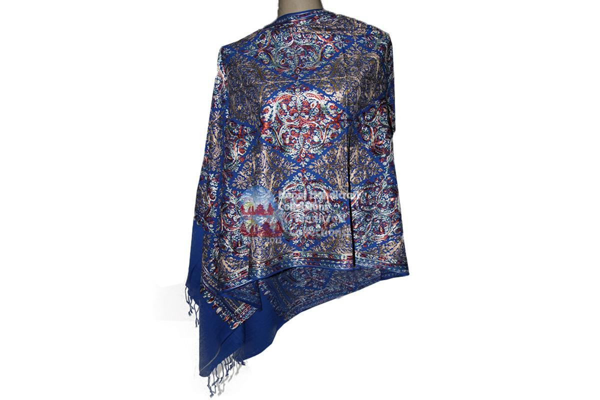 Cashmere Embroidery shawls-deep blue with pattren