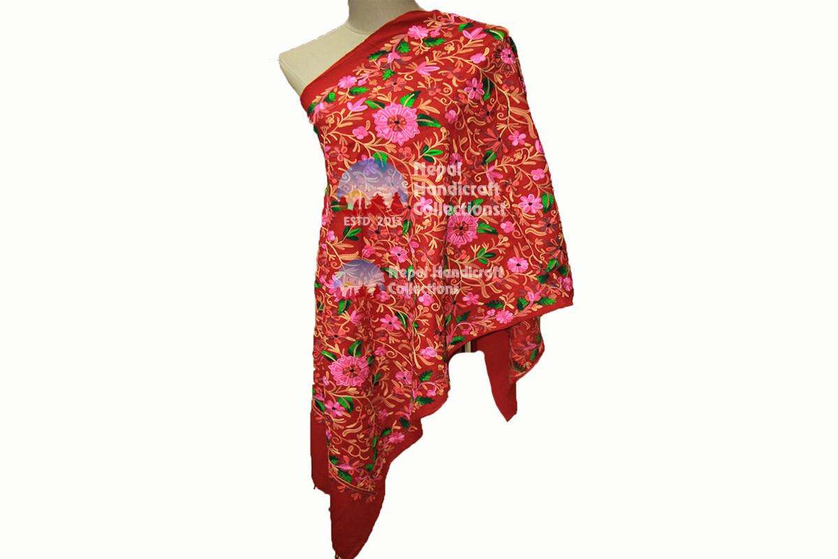 Cashmere Embroidery shawls-Red
