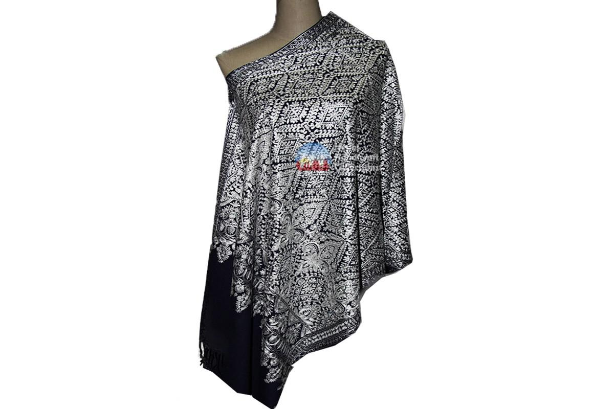 Cashmere Embroidery shawls-Black with pattern