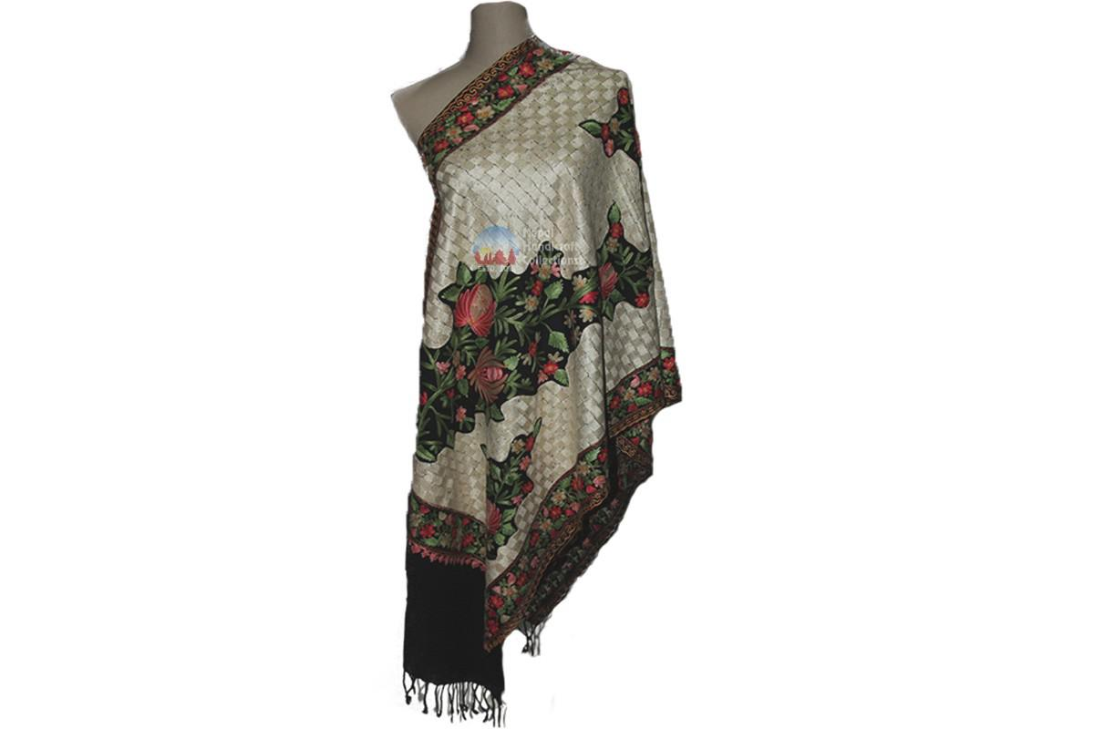 Cashmere Embroidery shawls- black with flower pattern
