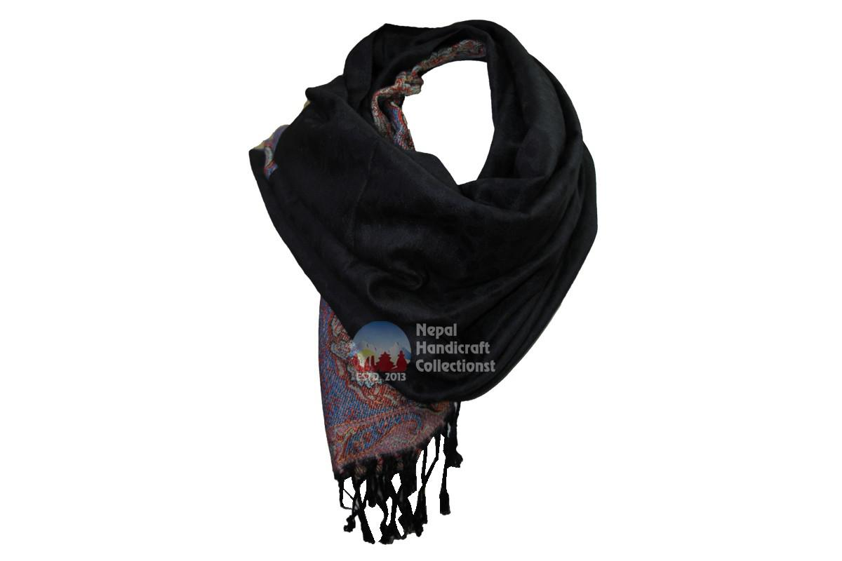 New pashmina Shawl-Handmade-in-Nepal,black