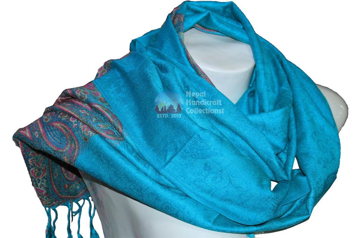 New pashmina Shawl-Handmade-in-Nepal,sky light blue